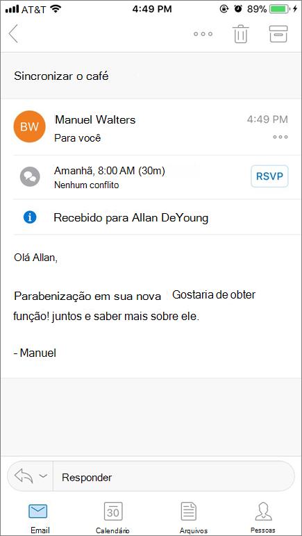 Captura de tela que mostra a tela do dispositivo móvel com itens de email.