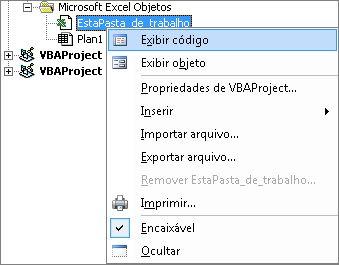 Janela do Explorador de projeto exibindo o código para esta pasta de trabalho do Excel
