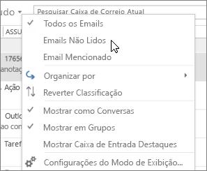 O instantâneo mostra a opção Email não lido selecionada no menu suspenso Todos na faixa de opções da Caixa de entrada.