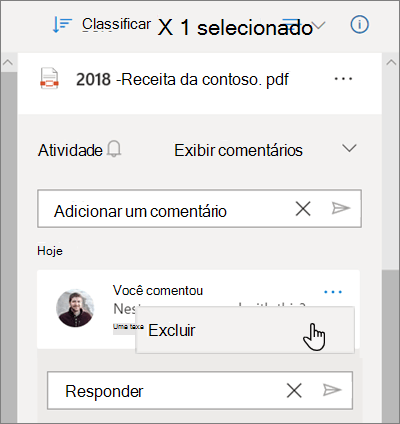 O painel de detalhes do OneDrive, mostrando os comentários deixados em um arquivo compartilhado e a opção Excluir selecionada para um comentário