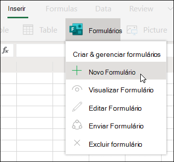 Opção Inserir novo formulário no Excel para a Web
