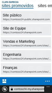 Sites promovidos no SharePoint Online em um dispositivo móvel