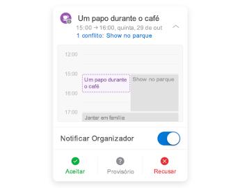 Convite de reunião com minicalendário na parte superior, seção de comentários no centro e botões de resposta na parte inferior