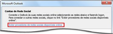 Link para a página do provedor do Outlook Social Connector