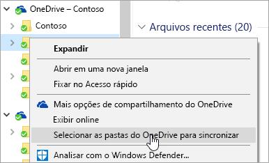 Uma captura de tela do menu com o botão direito no Explorador de Arquivos com 'Selecionar as pastas do OneDrive para sincronizar' selecionado.