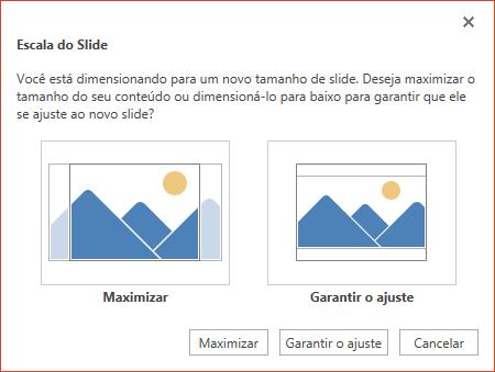 Selecione Maximizar para tirar o máximo proveito do espaço disponível ou selecione Garantir o Ajuste para garantir que seu conteúdo se ajuste à página vertical.
