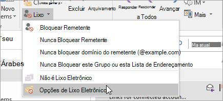 Uma captura de tela do botão de opções de lixo eletrônico