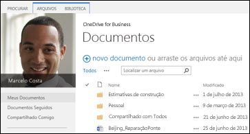 Bibliotecas do OneDrive for Business do SharePoint 2013