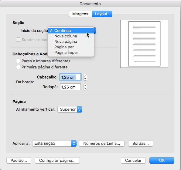 A caixa de diálogo de documentos contém configurações para o gerenciamento de seções, cabeçalhos e rodapés