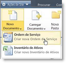 Tipos de conteúdo exibidos no menu Novo para uma Lista ou Biblioteca.
