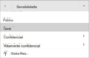 Captura de tela de rótulos de sensibilidade no Office para Android