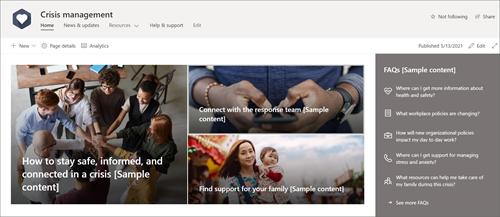 A home page do modelo de site de gerenciamento de crise