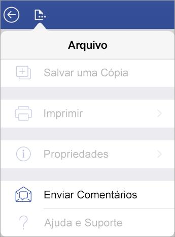 Captura de tela do link Enviar Comentários no Visio no iPad