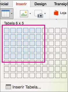 Como inserir uma tabela com a grade
