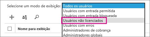 Exibir a lista de usuários não licenciados