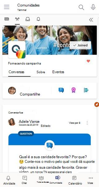 Usando o aplicativo Conversas para Teams no Yammer celular