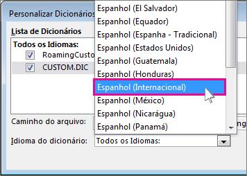selecionar um idioma para um dicionário personalizado