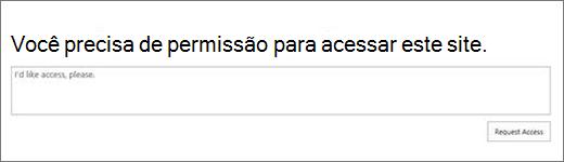 SPO acesso negado caixa de diálogo.