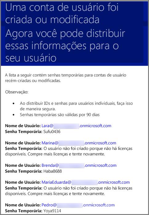 Email de exemplo com informações de credenciais do usuário