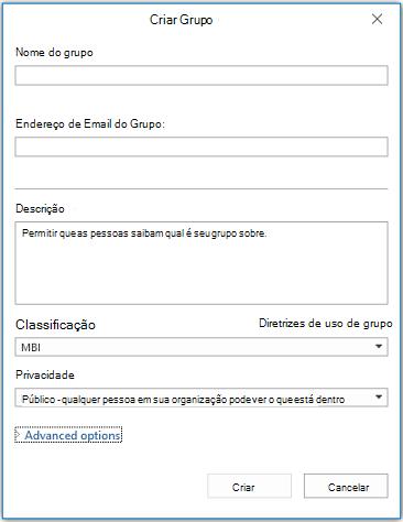 Página de informações do novo grupo no Outlook