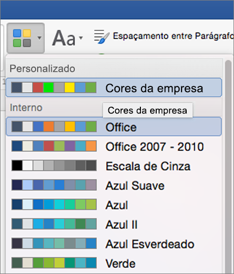 Cores de tema personalizado do Word