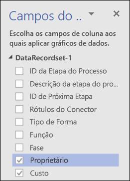 Aplicar Gráficos de Dados em Diagramas do Visualizador de Dados do Visio usando o painel Gráficos de Dados