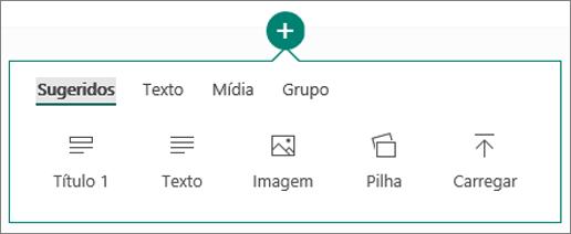 Captura de tela da opção Inserir Conteúdo.