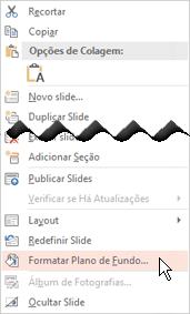 Clique com o botão direito do mouse na miniatura do slide para adicionar uma imagem de tela de fundo ao slide