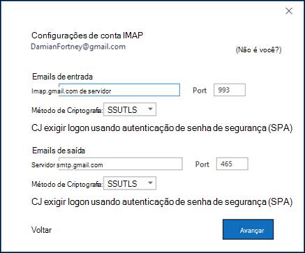 Verifique as configurações IMAP do gmail.