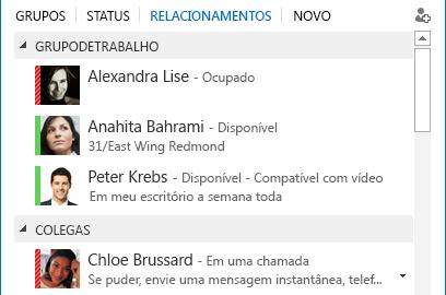 Capturas de telas de classificação de contatos por relacionamento