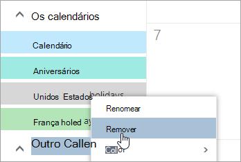 Uma captura de tela da opção Remover calendário