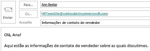 Envie uma mensagem usando a caixa de correio do site incluída no campo CC.