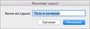 Layout para renomear o Slide Mestre no PPT para Mac