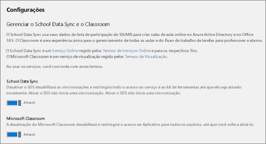 Captura de tela de Configurações na Sincronização de Dados da Escola, para ativar ou desativar a Sincronização de Dados da Escola.