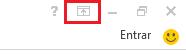 O ícone Opções da Faixa de Opções está localizado no canto superior direito.