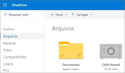 Captura de tela do Cofre Pessoal exibida no modo de exibição Arquivos no OneDrive na Web