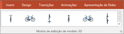 A galeria Modos de Exibição do Modelo 3D oferece algumas predefinições úteis para você organizar as exibições de imagens 3D