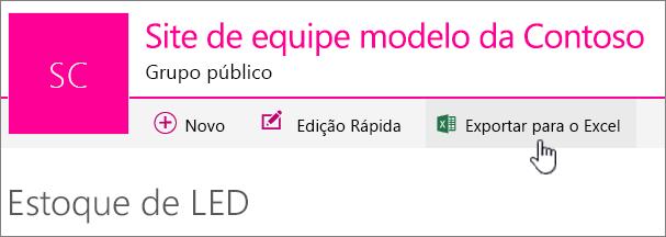 Lista do SharePoint Online com Exportar para Excel realçado