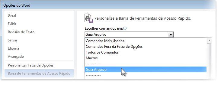 Personalize a Barra de Ferramentas de Acesso Rápido adicionando comandos à guia Arquivo