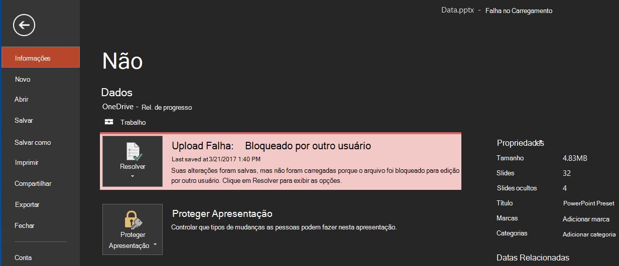 Falha no carregamento: bloqueado por outro usuário