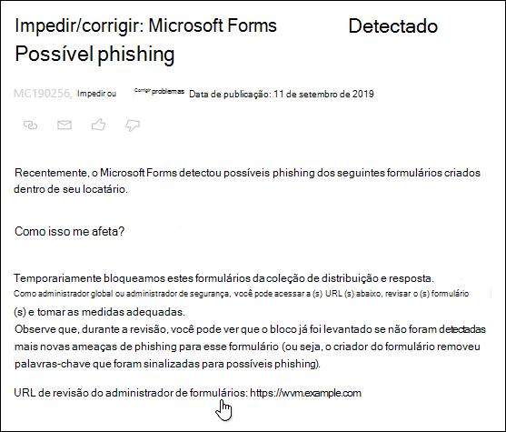 Apontando para formulários de revisão de administrador de formulários no Microsoft 365 postar no centro de administração do Microsoft Forms e detecção de phishing