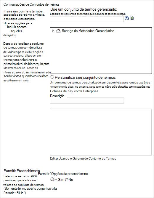 Opções para a coluna de metadados gerenciados