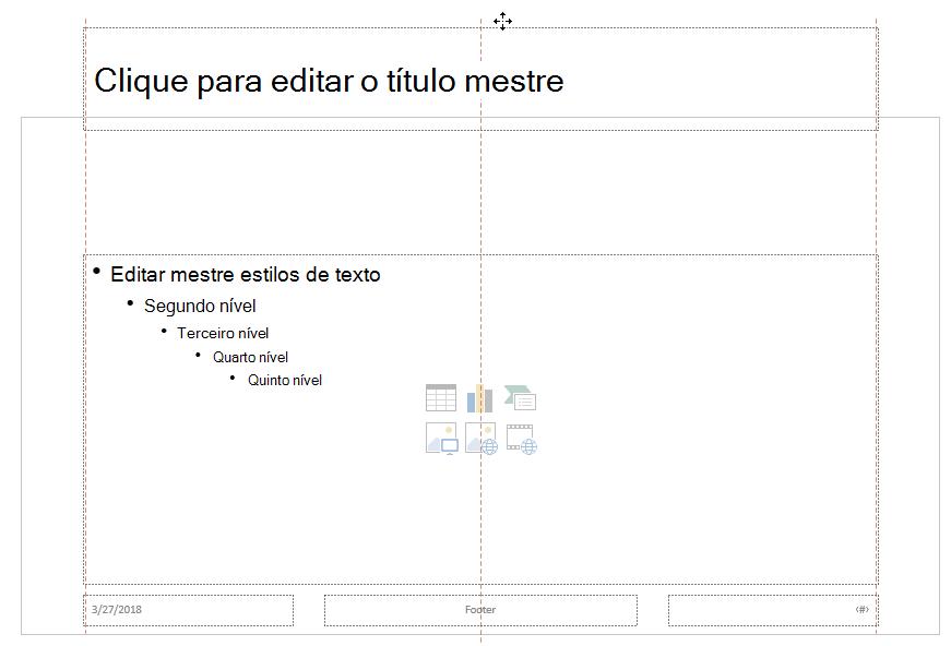 Arraste o espaço reservado para título para cima e solte-o fora do limite do slide visível