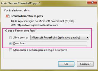 O que o Firefox deve fazer com este arquivo?