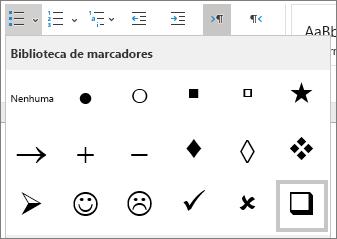 Escolher o símbolo de caixa de seleção na biblioteca de marcadores