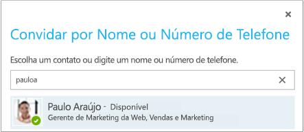 Caixa de diálogo Convidar por Nome ou Número de Telefone