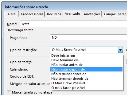 caixa de diálogo informações da tarefa, menu tipo de restrição
