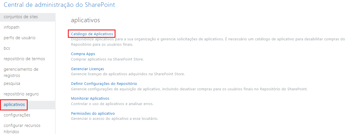 Captura de tela das Categorias de Aplicativos do Centro de Administração do SharePoint.