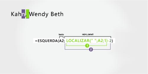 Fórmula para separar um sobrenome seguido por um nome e um nome do meio