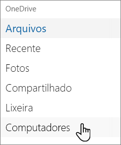 Navegação do lado esquerdo do OneDrive mostrando PCs